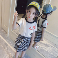 女童套�b夏季2018新款小女孩�r尚衣服洋�馓籽b短袖公主套裙�杉�套 白色