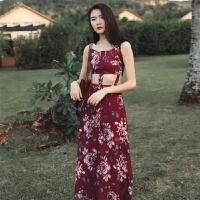 民族风夏酒红印花度假连衣裙女神沙滩长裙海滩裙 酒红色