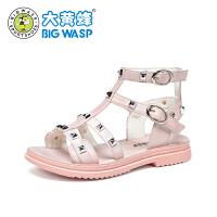 【1件5折价:99.9元】大黄蜂女童凉鞋儿童鞋子时尚透气2021夏季新款韩版小女孩公主鞋潮