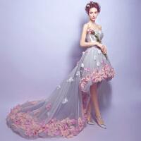 浪漫花瓣前短后长旅拍海景外景拖尾新娘婚纱礼服 拖尾款 编号2762