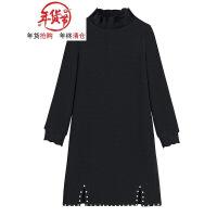 大码女装秋冬胖mm2018新款裙子微胖洋气遮肉套装减龄胖妹妹连衣裙