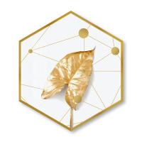星辰现代北欧六边形装饰画ins轻奢风格金色叶子客厅玄关挂画餐厅壁画 宽60*高130 边长35cm(铝合金属框)