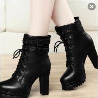 古奇天伦女鞋 粗跟马丁靴女鞋子短靴 新款加绒韩版百搭高跟鞋女靴子8102
