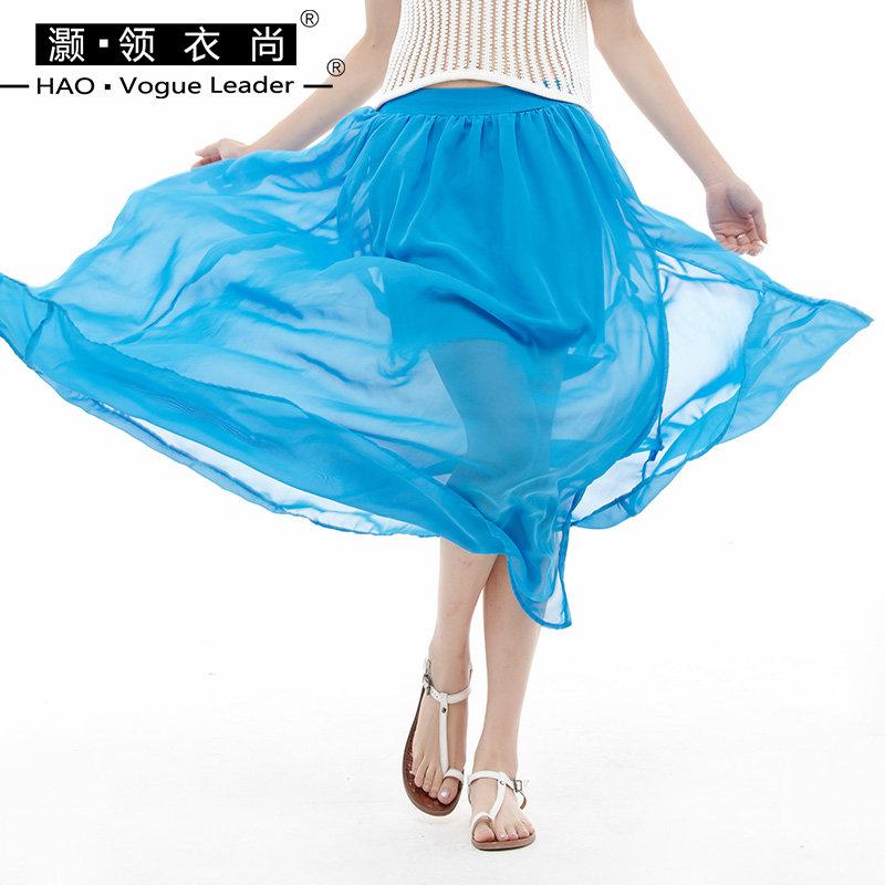 侧开叉雪纺半身裙女装夏装2018新款潮长裙仙女裙雪纺大摆裙子伞裙