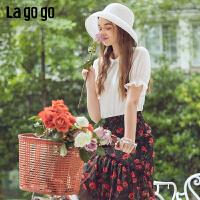 Lagogo/拉谷谷2019新款纽扣拉链喇叭袖雪纺上衣女IASS354C17