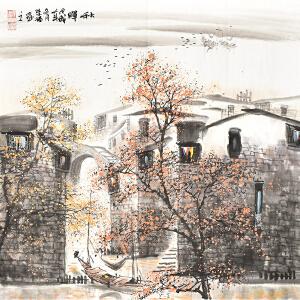 当代知名画家   韦荣福《秋晖》gs01233
