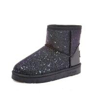 雪地靴女款冬季加绒加厚亮片厚底短筒靴子女韩版学生保暖平底棉靴 黑色 亮片 37 偏小一码