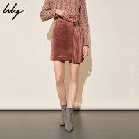 【25折到手价:99.75元】 Lily春新款女装时尚商务丝绒感不对称压褶修身短裙半身裙6913