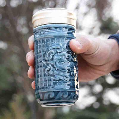乾唐轩活瓷小势在必得随身杯单层陶瓷水杯子带盖办公礼物官方直售 活瓷养生无铅铬陶瓷 高档礼盒包装
