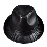 春秋款男士真皮爵士帽绅士礼帽羊皮帽老头帽子