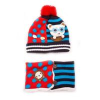 韩版儿童卡通眼镜小熊 男女童帽围巾两件套 秋冬保暖针织帽玩具