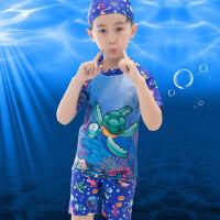 新款男童鲨鱼游泳套装 男童中大童平角速干泳裤 儿童分体泳装套装宝宝游泳衣