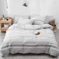水洗棉床上四件套全纯棉18双人网红床单被套床笠学生宿舍三件套【】