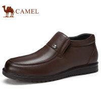 camel 骆驼男鞋秋冬新品商务休闲套脚真皮保暖休闲男士皮鞋子