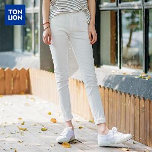 【2件3折价72.9元】唐狮休闲裤女白色简约长裤韩版修身弹力小脚裤潮裤子