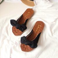 泰国旅游度假网红凉拖鞋女夏时尚蝴蝶结外穿海边沙滩拖鞋平底