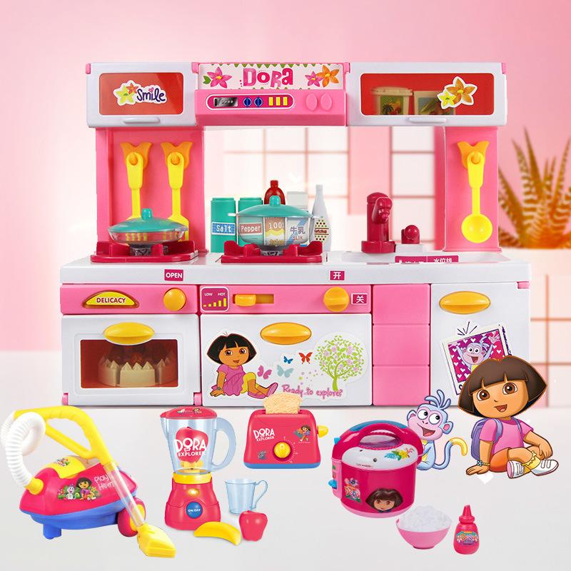 群丰朵拉正版儿童过家家电动出水厨房 生日礼物益智套装女孩玩具  满月周岁生日礼物六一圣诞节新年礼品