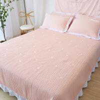 ins水洗棉床盖三件套夹棉绗缝被床单双人床铺盖被 星星 粉床盖三件套