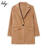 【100%全羊绒】Lily2018冬新款女装舒适全羊绒中长款驼色毛呢大衣