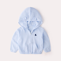 宝宝外套女夏季连帽男童上衣婴儿衣服小童开衫薄款儿童防晒衣夏装 蓝色 8090预售10天发货
