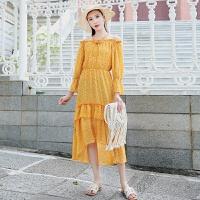 海边度假连衣裙女秋一字肩中长裙荷叶边雪纺沙滩裙 黄色