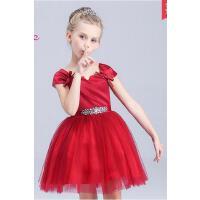 童装女童公主裙夏季红色短袖小女孩连衣裙中大儿童礼服纱裙子