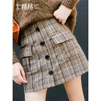 七格格a字裙半身裙时尚秋装女新款冬季韩版学生高腰格子短裙