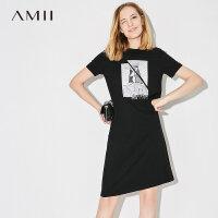 【AMII 超级品牌日】Amii[极简主义]2017夏新品休闲气质印花画T恤裙连衣裙11762264