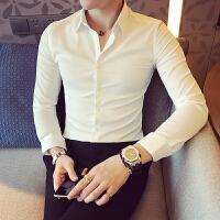 男士长袖衬衫修身韩版发型师休闲夜店男装免烫衬衣白色寸衣商务潮