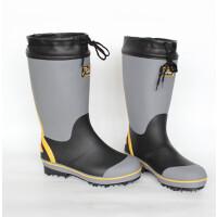 新高筒夏天钢钉底防滑款户外钓鱼 爬山男款雨鞋雨靴户外礁鞋矶鞋 灰色黄边 钉底