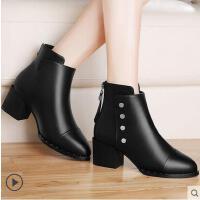 古奇天伦短靴女秋冬新款潮百搭韩版粗跟靴子高跟鞋加绒马丁靴