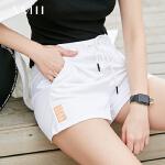 【每满200减100 多买多减 不封顶】 Amii 休闲短裤女2018夏装新款字母印花修身显瘦系绳五分热裤女士 11761