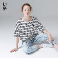 初语2017夏装新款 条纹宽松短袖T恤女文艺圆领纯棉上衣