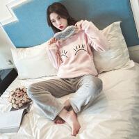 珊瑚绒睡衣女冬季甜美可爱韩版公主风可外穿法兰绒家居服套装秋季