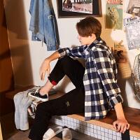 [2.5折价68.9元]唐狮格子衬衫男长袖潮春季青少年ins黑白格子衫宽松外套韩版
