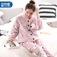 睡衣女冬季韩版可爱珊瑚绒加厚法兰绒家居服女开衫加大码秋冬套装