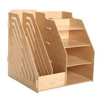得力9842木质创意文件架文件筐资料架桌面收纳整理文件框办公用品文具