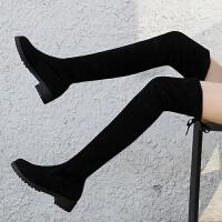 秋冬季欧美显瘦长靴过膝靴韩版绒面长筒弹力靴粗跟高筒靴粗跟女鞋