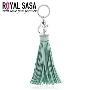 皇家莎莎韩国绒钥匙圈女流苏钥匙挂坠饰品微镶仿水晶钥匙扣钥匙链