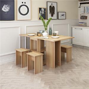 御目 餐桌 简约多功能小户型可伸缩简易宜家折叠餐桌椅组合长方形饭桌子家用 创意家具