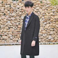 秋冬季风衣男中长款外套韩版修身毛呢大衣男士潮流帅气上衣服