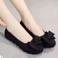 新款老北京布鞋女鞋单鞋黑色工作鞋豆豆鞋平底鞋懒人鞋一脚蹬大码鞋