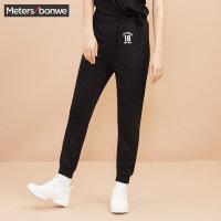 美特斯邦威休闲针织裤女士2017秋季新款韩版数字字母长裤子潮流风