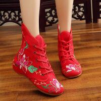 老北京绣花鞋女短靴子民族风单鞋秋季新款广场跳舞蹈高帮布鞋 曼陀罗(单鞋) 红