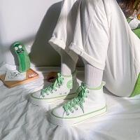 �D品简约绿高帮帆布鞋女学生韩版女鞋子2019新款潮鞋复古港味布鞋