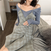 韩风气质V领修身连衣裙女装2019款春格子吊带裙露肩长袖T恤