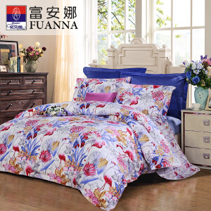 [当当自营]新品上市富安娜家纺 四件套纯棉斜纹床品双人花卉套件 蓝色-奇幻森林 1.8米(6英尺)床