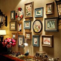照片墙美式乡村照片墙复古挂钟客厅餐厅欧式做旧相框挂墙背景墙装饰G 款 多色混搭静沁画心】