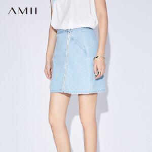 Amii[极简主义]夏装2017新款女纯棉水洗丹宁牛仔A字短裙11733761