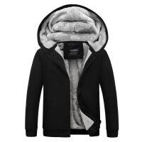 冬季加绒加厚开衫外套拉链卫衣男士纯色连帽男欧美上衣运动帽衫潮